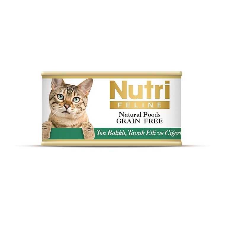 Nutri Feline Tahılsız Ton Balık Tavuk Ciğerli Kedi Konservesi 85 Gr