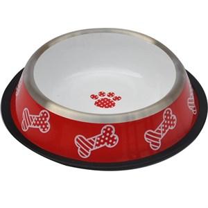 Zampa Desenli Çelik Mama Su Kabı Kırmızı-Beyaz 24 oz